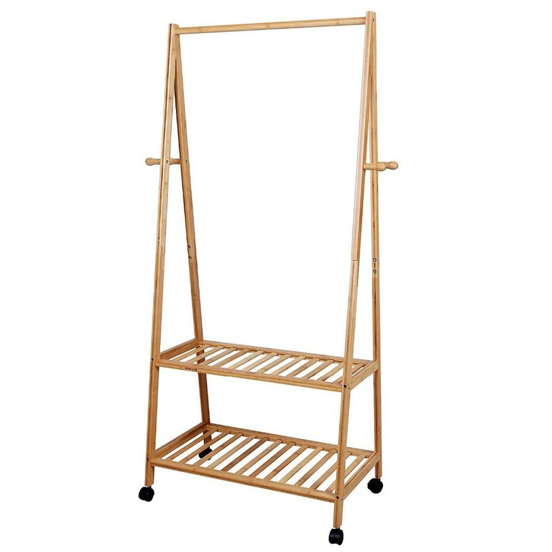 Removable Bamboo Home Furniture Bamboo Clothes Drying Hanger Rack For Clothes